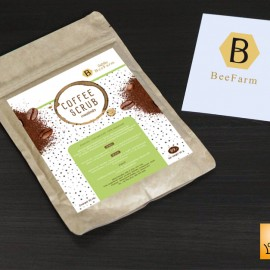 sticker coffee scrub